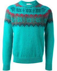 Moncler - Green Snowflake Pattern Sweater for Men - Lyst