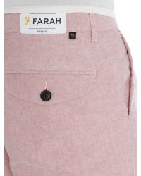 Farah | Pink Wistow Cotton Oxford Shorts for Men | Lyst