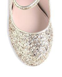 Miu Miu - Metallic Glitter Mary Jane Pumps - Lyst