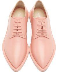 Simone Rocha | Pink Leather Clear Heel Derbys | Lyst