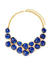 Kenneth Jay Lane | Blue Baroque Stone Crystal Bib Necklace | Lyst
