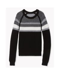 Theory - Black Larus Canon Striped Wool Sweater - Lyst