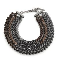 Lafayette 148 New York | Brown Double Chainlink Necklace | Lyst