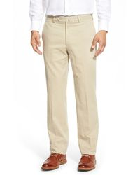 Peter Millar | Natural 'como Sport' Flat Front Trousers for Men | Lyst
