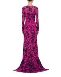 Oscar de la Renta - Purple Floral Lace Appliqué Long Sleeved Gown - Lyst