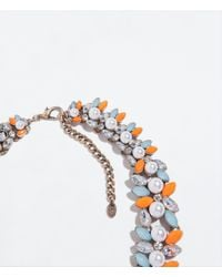 Zara | Orange Stones And Pearls Necklace | Lyst