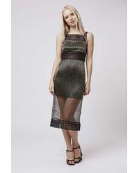 TOPSHOP | Metallic Gold Grid Lace Midi Dress | Lyst