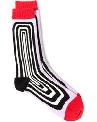 Henrik Vibskov - Red 'optical' Socks for Men - Lyst