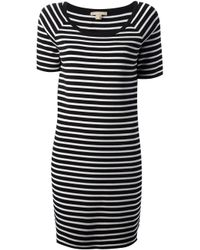 Michael Kors | Black Striped Tshirt Dress | Lyst