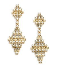 DANNIJO - Metallic Sylvie Crystal & Faux Pearl Drop Earrings - Lyst