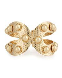 R.j. Graziano | Metallic Golden Studded Hinge Bracelet | Lyst