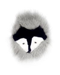 Yves Salomon | Gray Fox Face Fur Pin Badge | Lyst