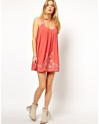 Pepe Jeans - Red Swing Dress with Embroidery - Lyst