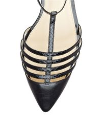 Ivanka Trump | Black Toey Leather Cage Sandals | Lyst