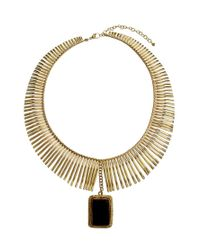 Kasturjewels | Metallic Statement Necklace with Black Agate Stone | Lyst