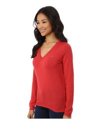 Lacoste | Red Long Sleeve Cotton Double Overlay V-neck Sweater | Lyst