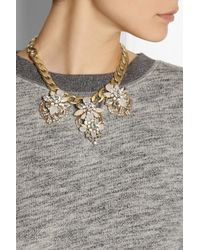 J.Crew - Metallic Station Deco Goldtone Crystal Necklace - Lyst