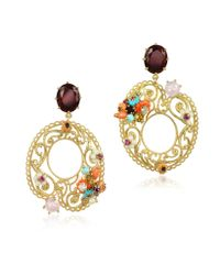Les Nereides | Multicolor Neo Bourgeoise Asymmetrical Metal Lace And Embroidery Earrings | Lyst