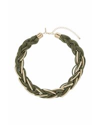 TOPSHOP - Natural Tube And Metal Plait Necklace - Lyst