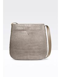 Vince - Gray Crocodile-Embossed Leather Messenger Bag - Lyst