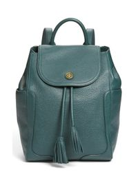 Tory Burch | Green 'frances' Leather Flap Backpack | Lyst