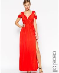 ASOS | Red Tall Wedding Drape Cold Shoulder Maxi Dress | Lyst
