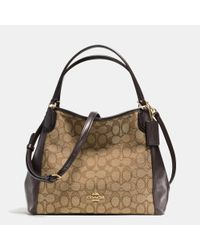 COACH | Brown Edie 28 Jacquard and Leather Shoulder Bag | Lyst