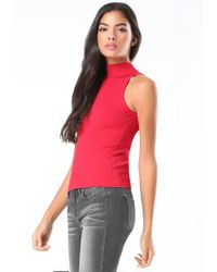 Bebe - Red Ribbed Sweater Top - Lyst