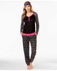 DKNY | Black Minky Henley Shirt And Pajama Pants Set With Eye Mask | Lyst