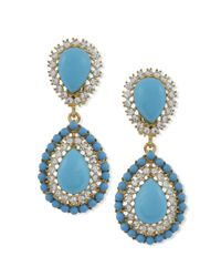 Kenneth Jay Lane | Blue Turquoise Teardrop Clip Earring | Lyst