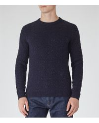 Reiss | Blue Montague Textured Fleck Jumper for Men | Lyst
