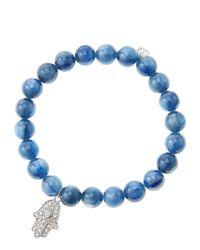 Sydney Evan | Blue 8mm Kyanite Beaded Bracelet With 14k White Gold/diamond Medium Hamsa Charm (made To Order) | Lyst