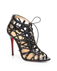 Christian Louboutin | Black Laurence Leather Cage Laceup Sandals | Lyst