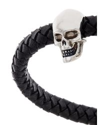 Alexander McQueen - Black Skull Charm Braid Leather Bracelet for Men - Lyst