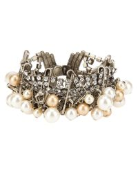Tom Binns - Metallic Pearl Safety Pin and Crystal Small Bracelet - Lyst