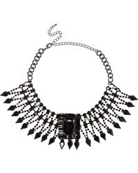 River Island - Metallic Black Gemstone Statement Choker - Lyst