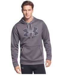 Under Armour | Gray Men's Storm Armour Big Logo Performance Fleece Pullover Hoodie for Men | Lyst