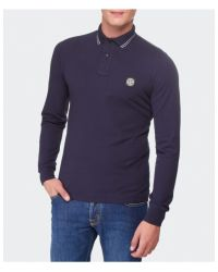 Stone Island - Blue Long Sleeve Polo Shirt for Men - Lyst