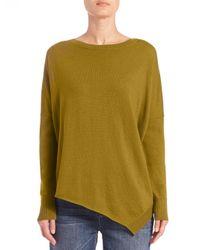 Eileen Fisher | Green Merino Wool Asymmetrical Sweater | Lyst
