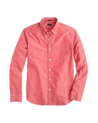 J.Crew - Red Slim Cotton Shirt in Woven Arrows for Men - Lyst