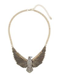 TOPSHOP | White Rhinestone Chunky Eagle Necklace | Lyst