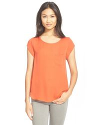 Joie | Orange Rancher Silk Pocket Top | Lyst