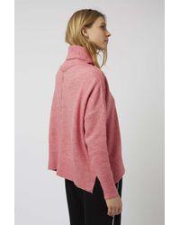 TOPSHOP - Pink Zip Back Roll Neck - Lyst
