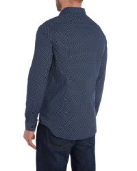 Michael Kors | Blue Ted Slim Fit Patterned Shirt for Men | Lyst
