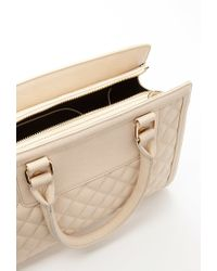 Forever 21 - Natural Quilted Rectangle Satchel - Lyst