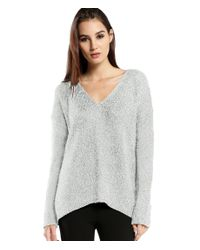 Michael Stars | White Multi Stitch V Neck Sweater With Back Leather Zipper | Lyst