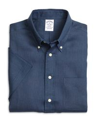 Brooks Brothers | Blue Regent Fit Linen Short-sleeve Sport Shirt for Men | Lyst