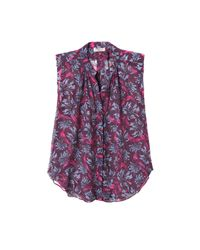 Rebecca Taylor | Purple Sleeveless Mystic Garden Print Chiffon Top | Lyst