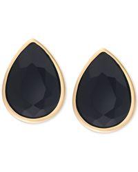 Tahari - T Gold-tone Jet Black Stone Stud Earrings - Lyst