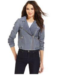 Calvin Klein Jeans - Blue Faux-Leather Moto Jacket - Lyst